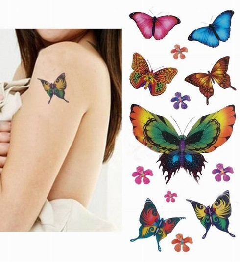 Butterfly temporary tattoo sticker