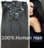 100% human hair clip on hair extension