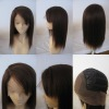 100% human hair hidden knots silk top lace front wig with bangs from factory directly