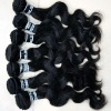 100% indian remy ocean wave hair,touch soft natural black color