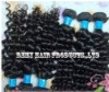 100% remy Brazilian virgin human hair weft extensions brazilian weft hair deep wave natural black 100g/pcs any length