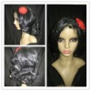 100% synthetic black party wigs