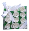 12pcs rose flower scented soap with leaves in square PVC box with ribbon