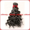 "14"" #1b Deep curl super quality malaysian virgin hair machine made weft"
