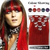 18 Inches 7pcs Clip-in Human Hair Extensions Straight Red SH1434