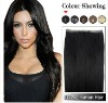 18Inches Human Hair Hand Tied PU Skin Weft (#1 Jet Black)