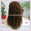 "20"" French Curl 100% Indian Remy Hair Custom Full Lace Wigs"