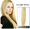 20 Inches Human Hair Silky Weaves (#24 Light Blonde)