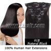"20""Remy Clip 7pcs Human Hair Extension #1B, 70g/set"