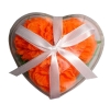 3pcs Carnation flower soap handcraft in heart plastic case with ribbon