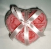 3pcs flower soap handcraft in heart plastic case with ribbon