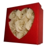 9pcs Soap flowers in square hardbox with heart window