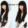 Beautiful long black silky straight wave human hair wigs for women