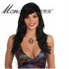 Black long curly human hair full lace wig for ladies