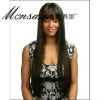 Black long silky straight wave human hair full lace wig for black ladies