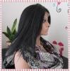 Black yaki straight front lace women wigs