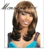 Brown long kinky curl human hair full lace wig for black ladies