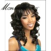 Charming and long deep wave black human hair full lace wig for black ladies