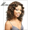 Charming and long water wave brown human hair full lace wig for black ladies