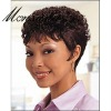 Charming and short curly black human hair full lace wig for black ladies