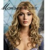 Charming and simple long deep wave blond human hair full lace wig for ladies