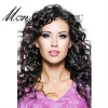 Charming black and long curly human hair full lace wig for women