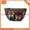 Charming cute women's zipper black leather flower pattern cosmetic bag
