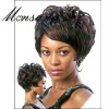 Cool and short brown curly human hair full lace wig for black ladies