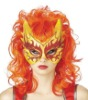 Devil Deluxe Theatre Headwear Womens Mask & Wig