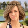 Elegant and shoulder length brown curly human hair wigs for women
