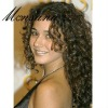 Elegant black and long curly human hair full lace wig for black women