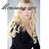 Elegant platin blonde long curly human hair wigs for ladies