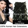 French curl 7pcs set clip-on human hair extensions 70g/pack 20inches