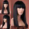 Grade AAA long straight black brazilian hair full lace wigs yaki