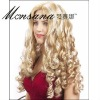 Hot selling blond and long deep wave human hair full lace wig for ladies