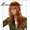 Hot selling brown and long curly human hair full lace wig for ladies