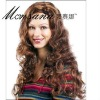 Hot selling brown and long deep wave human hair full lace wig for ladies