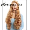 Hot selling brown and long water wave human hair full lace wig for ladies