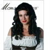 Hot selling long and black super wave human hair full lace wig for ladies