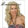 Hot selling long and blond deep wave human hair full lace wig for ladies