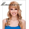 Hot selling long blond curly human hair full lace wig for ladies