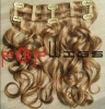 Hotsale golden color clip in human hair wefts