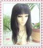 Indian remy human hair natural straight lace front wig with bang