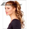 Invisible clip-in long deep wave human hair ponytail hairpiece for women
