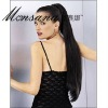 Invisible clip-in long silky straight wave human hair ponytail hairpiece for women