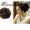 Invisible clip-in short black curly human hair ponytail hairpiece for black women