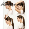 Invisible wrap around long silky straight wave ponytail hairpiece for black women