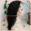 Jet Black Curly Indian Remy Hair Lace Wigs