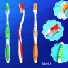 (M005) anti-slip handle with rubber tongue cleaner adult toothbrush
