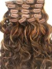 MALAYSIAN WAVY CLIP ON WEFT / MIXED COLOR CLIP HAIR - BLONDE COLOR CLIP WEFT WITH BLACK BLEND